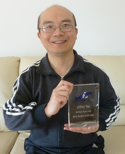 Author Jeff Yao celebrating his 2014 Rookie of the