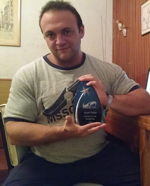 MSSQLTips Daniel Farina showing off his physique a