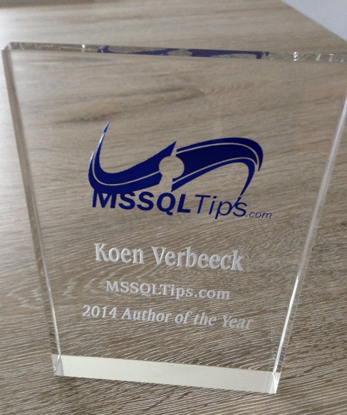 This Author of the Year award goes to Koen Verbeec