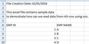 How to read data from an Excel file starting from the nth