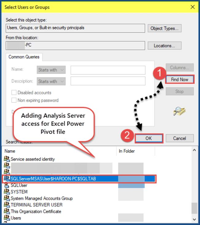 为power pivot添加分析服务器访问权限