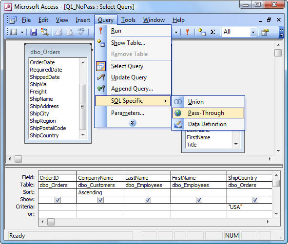 Microsoft access pass through queries to sql server for Sql table design query