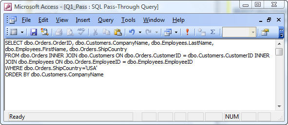 Microsoft Access Pass Through Queries to SQL Server