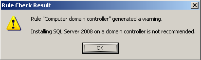 Warning indicating that installation on a domain controller is not recommended