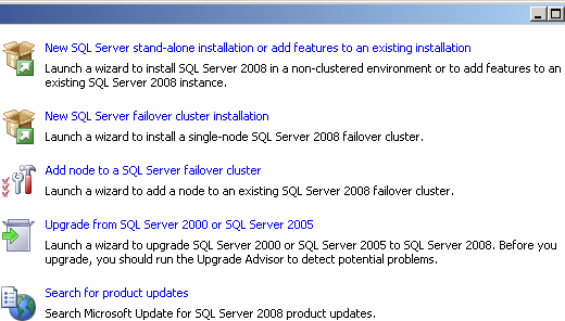 Installation Options for the SQL Server Installation Center