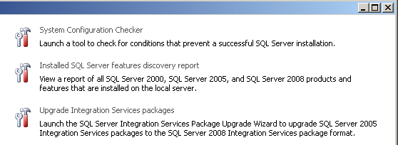 Tools Options for the SQL Server Installation Center