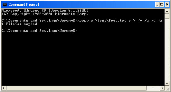 xcopy copy directory overwrite a file