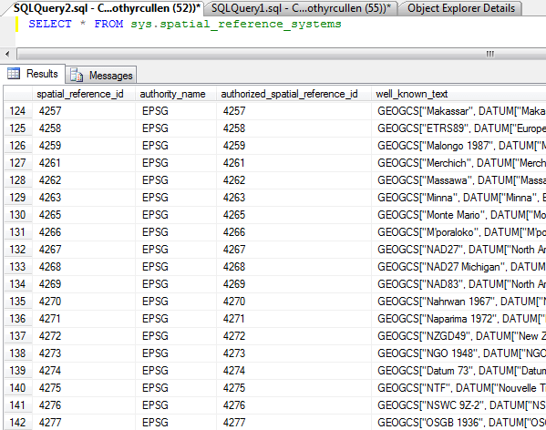Sample resultset when querying the sys.spatial_reference_systems catalog view