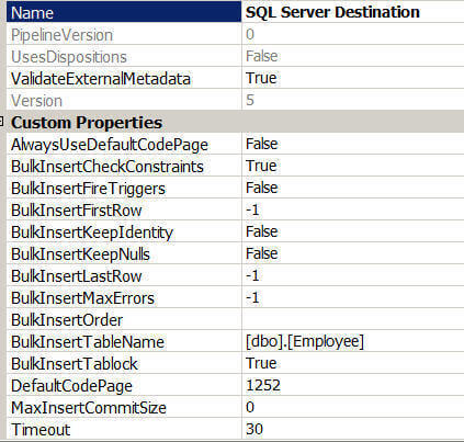 sqlserver destination