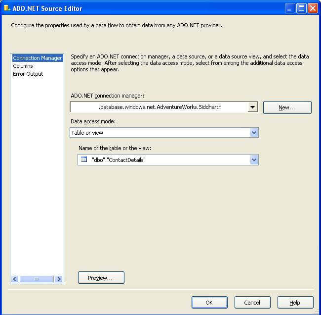 Read and write data from SQL Azure using SQL Server Integration