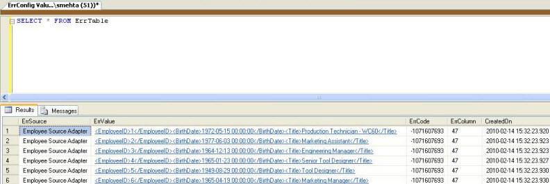 Execute the package and this should insert rows into the our error table as shown in the screenshot below