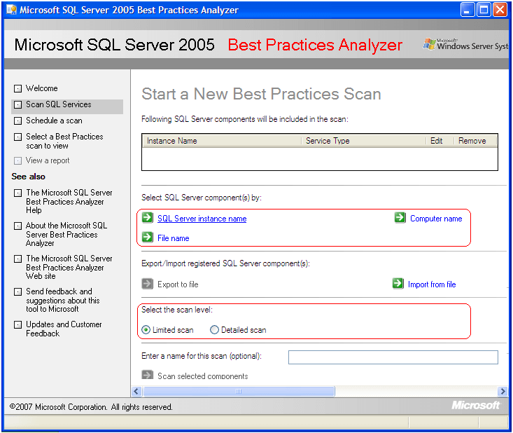 you will find different options available to scan such as the SQL Server Instance, Computer or a File