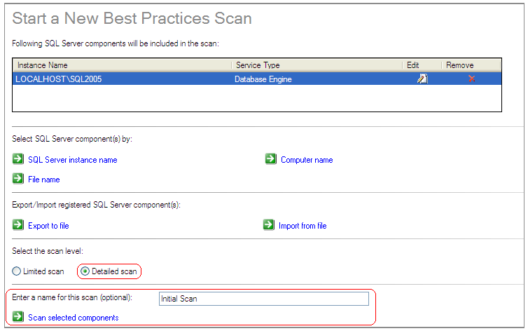 click on Scan selected components to start scanning