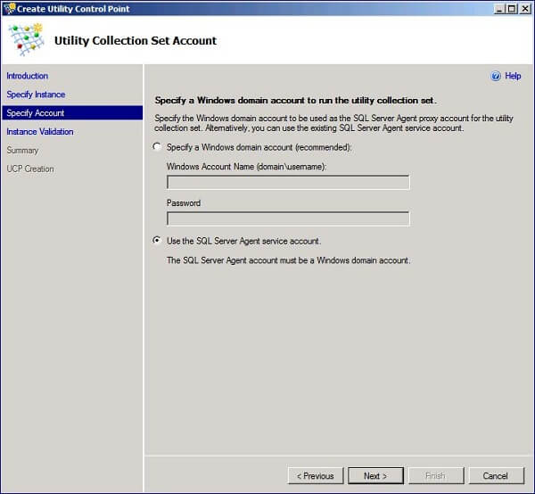 you can specify an account or use the SQL Server Agent account as shown