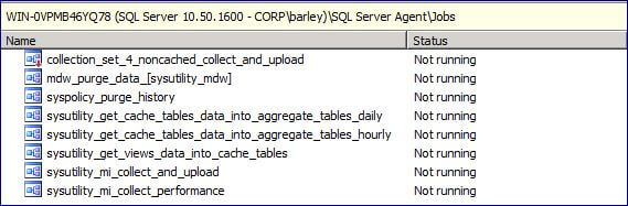 the following SQL Agent jobs will be created to perform the data collection
