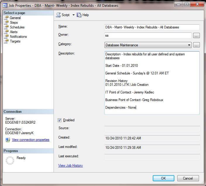 SQL Server Agent Job Notes
