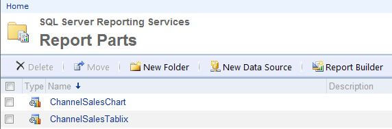 view ssrs report parts to see the published report parts