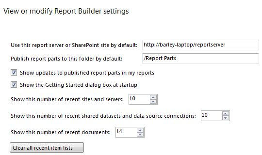 view or modify report builder settings