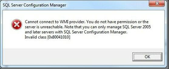 sql server configuration manager error message