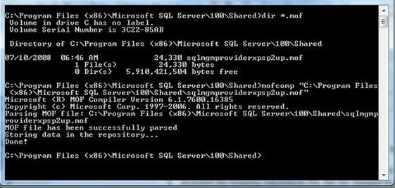cmd window to fix error message in sql 2005 and later servers