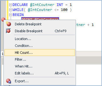 a breakpoint hit allows you to specify the condition to pause