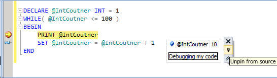when you move your cursor over a t-sql identifier you have the option to add comments