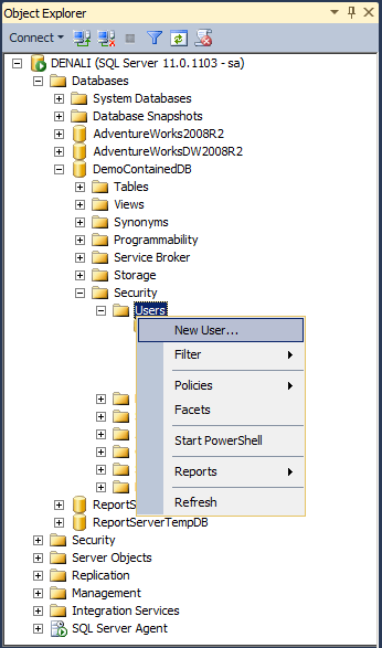 create a sql server user to access the database