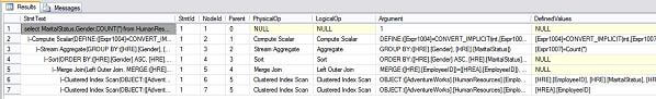 text based sql server query plans