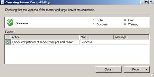 sql server will check that the versions of the master and target servers are compatible