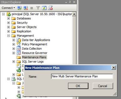 connect to ssms and navigate to management/maintenance plans