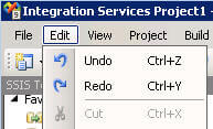 Edit Menu SSIS Undo and Redo
