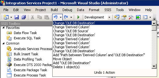 SSIS Undo Drop Down List