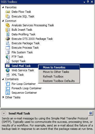SSIS Toolbox move to favorites
