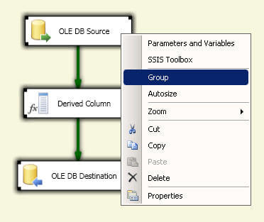SQL Server Integration Services Grouping in the Data Flow Designer