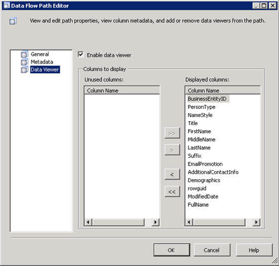 SQL Server Integration Services Data Flow Path Editor