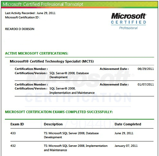 Certified technical specialist for microsoft sql server 2008 database developement