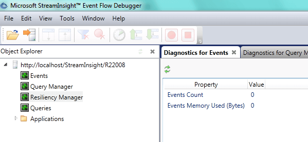 Options available within the StreamInsight Event Flow Debugger