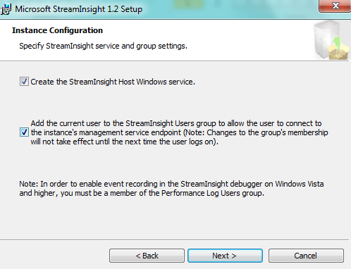 Welcome screen for installing StreamInsight