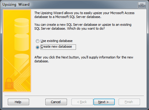 Microsoft Access Upsizing Wizard Create Database