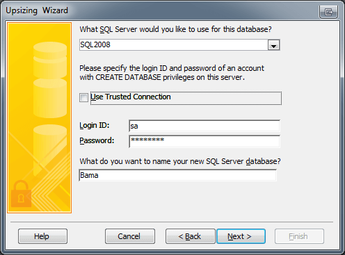 Microsoft Access Upsizing Wizard Connection String