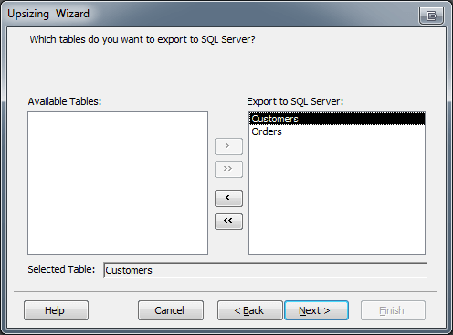 Microsoft Access Upsizing Wizard Table Selection