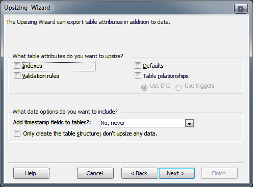 Microsoft Access Upsizing Wizard Table Attributes