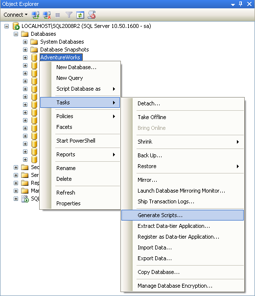 SQL Server 2008 R2 Generate Scripts Wizard with Database ...
