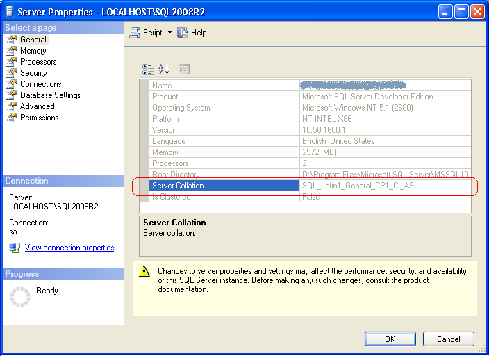 Identify SQL Server Instance and Database Collation Using T
