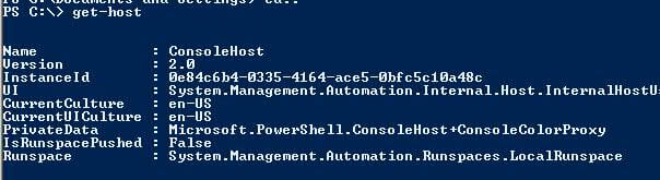 PowerShell 2.0 get-host command example