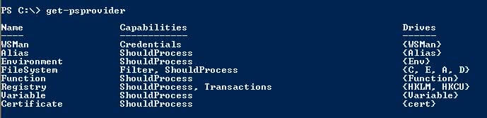 PowerShell 2.0 get-psproviders command example