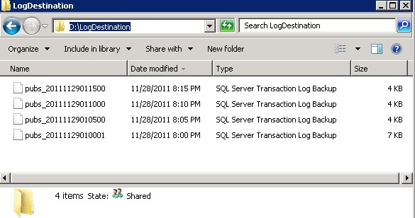 Destination folder for SQL Server Log Shipping