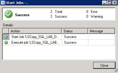 Verify status of the SQL Server Log Shipping Job