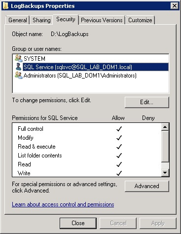 SQL Server Log Shipping Directory Permissions