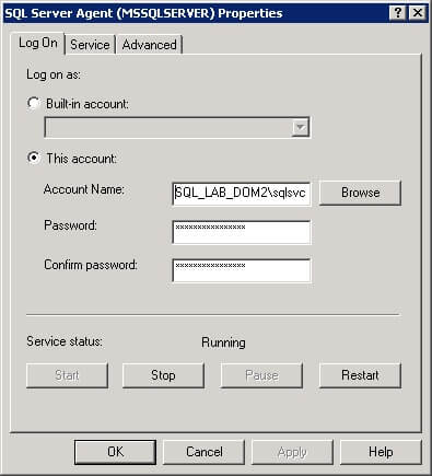 Configure SQL Server Agent for Log Shipping